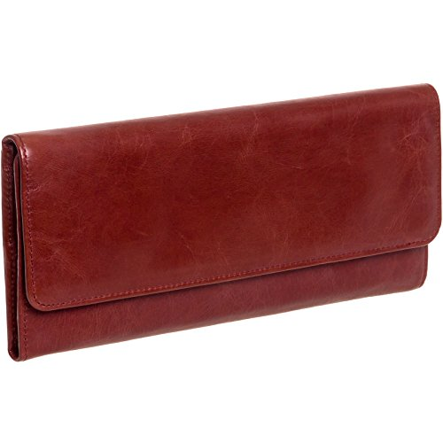Hobo International Womens Sadie Leather Tri Fold Wallet Clutch Purse (Mahogany)