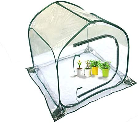 Ruier-hui Mini Foldable Greenhouse Collapsible PE Clip Mesh Cloth Structure Flower House Transparent White Indoor Outdoor Gardening Flower Pot Cover Backyard Flower Shelter Proof Bird Cover