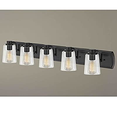 Industrial 5-Light Bath Wall Light with Clear Glass in Bronze