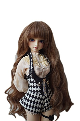 MUZI WIG 1/3 BJD Doll Hair Wig, Heat Resistant Fiber Curly Hair Beautiful Dark Brown Kinky Long Blonde Hair Wigs with Full Fringe Hair Wig for 1/3 BJD Doll