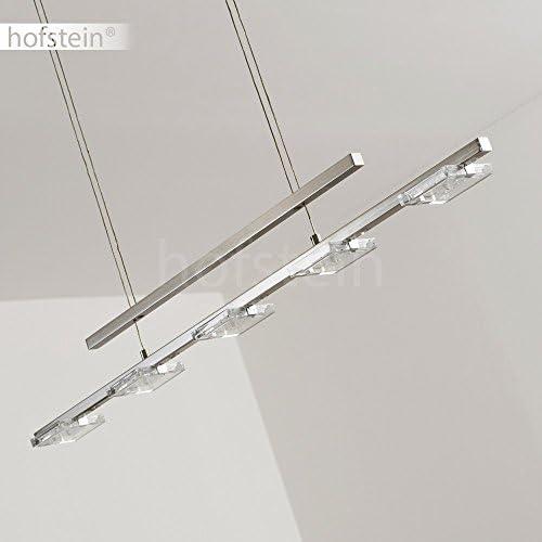 LED Pendelleuchte Avesta, längliche Hängelampe aus Metall in Nickel-matt, 5-flammig, Höhe max. 180 cm (verstellbar), Hängeleuchte m. 20 Watt, 1600 Lumen, Lichtfarbe 3000 Kelvin (warmweiß)