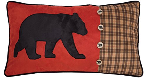 Carstens, Inc Bear and Buttons Red with Plaid Decorative Pillow, 14 x 26, Multicolor ()