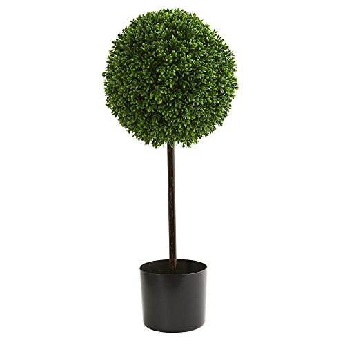 Nearly Natural Artificial UV Resistant 2.5' Boxwood Ball Topiary Tree (Indoor/Outdoor), Green