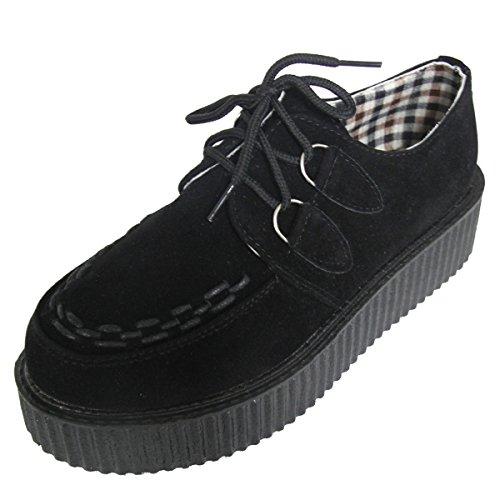 Chaussures Lacet Britannique Style Rétro Creeper à Femme Noir SIMPVALE 5UqwFz1