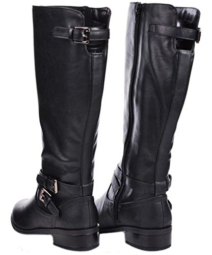 Women Classic Leatherette Faux Fur Lined Buckle Strap Knee High Riding Boots Black nIzbluRr8