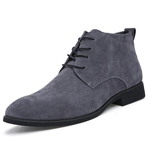 Heart&M botas casual cuero alta corte gamuza cuero Martin/corto de hombres gray