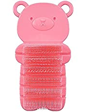 Nail Scrubber Brush Kids, Hands Finger Nails Scrub Scrubbing Cleaning Washing Brushes with Soft Bristle for Baby Toddler and Children, Animal Style and 2 Colors Choice (Pink)