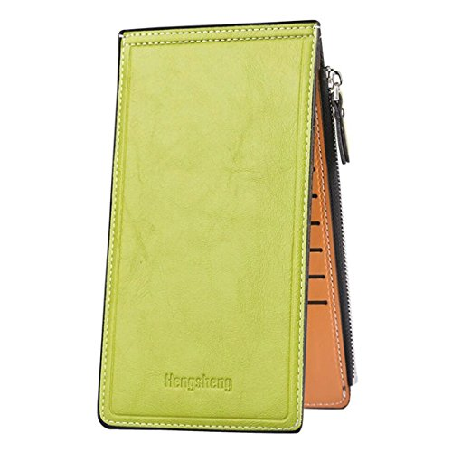 Womens long Wallet Leather Bifold Multi Card Case Wallet with Zipper Pocket Clutch Phone Holder Bag Ladies Purse (Green) - Green Flat Wallet