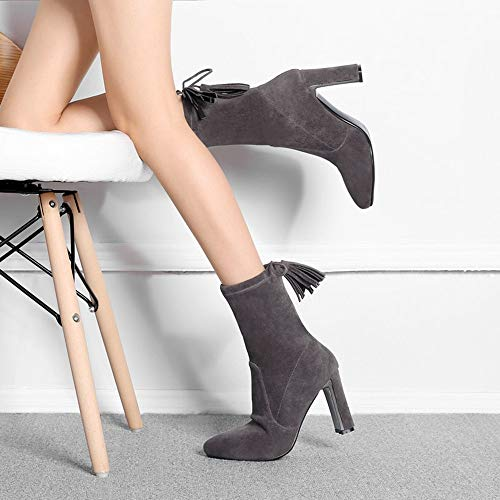 with High Heels Faced Boots Heel Women's Cotton Slip HCBYJ Non Boots Women's Pointed Autumn Shoes Tacones Stripes Fashion Gray Ankle CwqY0Xp