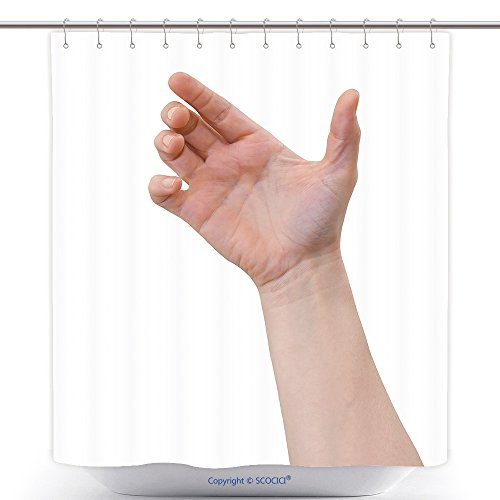 vanfan-Durable Shower Curtains Hand Of A Caucasian Female To Hold Card Mobile Phone Tablet Pc Or Other Palm Gadget Isolated On Polyester Bathroom Shower Curtain Set With Hooks(69 x 84 inches)