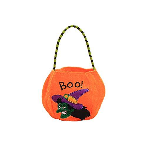Xuxuou Halloween Candy Bag Cartoon Velvet Pumpkin Bag Trick or Treat Bags Kids Goodie Bags Children Handhold Party Supply Trick Gift Boxes for Halloween 1 -