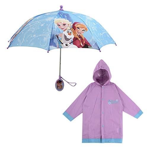 Disney Girls' Little Assorted Characters Slicker and Umbrella Rainwear Set, Frozen Light Purple, Age 6-7