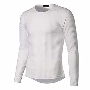 Hombre Vertical Rayas Manga Larga Camisetas, mamum Hombres o cuello blusa manga larga rayas Pollover camisa Solid Top blanco blanco 2XL