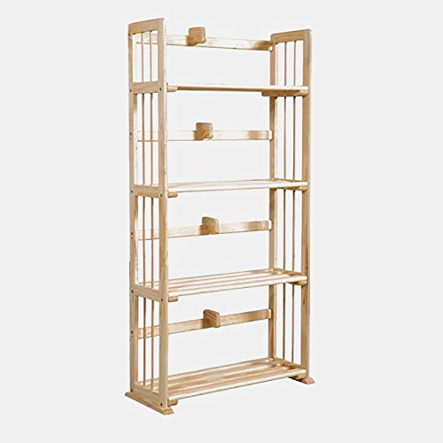- BUkk Pine Wood Bookcase - Bookcase with 4 Slatted Shelves - Natural