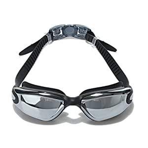 Adult Swim Goggles Mirrored Anti Fog Uv Protection Waterproof with Free Case and Ear Plugs for Swimming, Quick Adjusting Silicone Head Strap Flexible Nose Bridge Tinted Lenses Comfortable for Men Women Youth Black