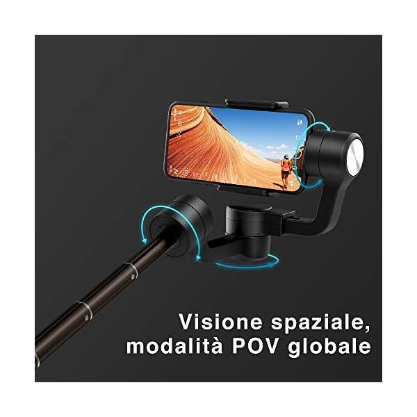 FeiyuTech Vimble 2S - Stabilizzatore cardanico portatile estensibile a 3 assi per smartphone,Iphone/Samsung/Xiao Mi/Huawei, nero scuro 5 spesavip