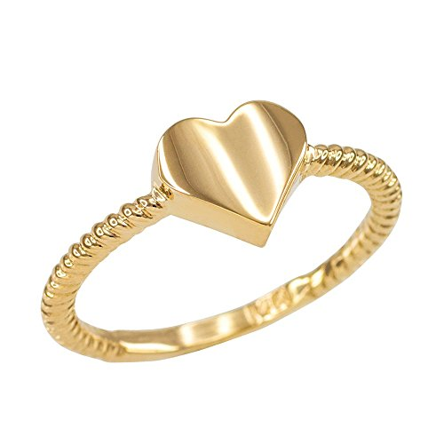 High Polish 10k Yellow Gold Twisted Style Rope Band Heart Ring (Size 5)