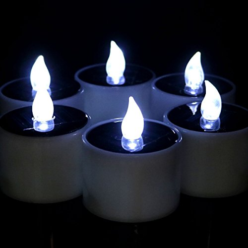Livingly Light Romantic Smoke-free Solar Powered Tea Lights LED Flameless Candle Lights For Wedding Floral Vase Decoration, 6 PCS, Cool White Light (Sconce Floral Arrangements Wall)