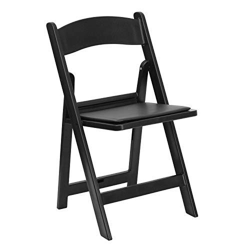 HERCULES Series 1000 lb. Capacity Mahogany Resin Folding Chair with Black Vinyl Padded Seat