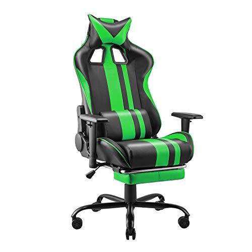 Soontrans - Silla para juegos, para computadora, para computadora, silla ergonómica para jugadores, silla reclinable para carreras, silla para videojuegos con reposapiés, reposacabezas ajustable y silla de soporte lumbar para adultos y adolescentes (verde