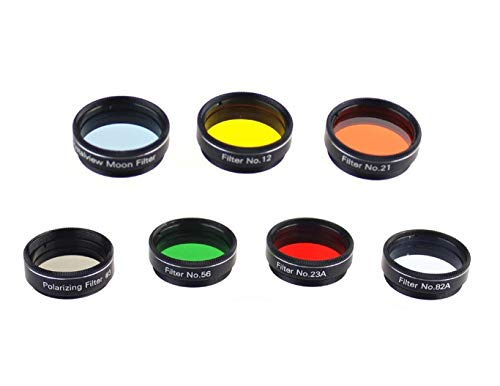 7PCS 1.25 Inch Color Filters Set for Telescope Eyepiece for Enhancing Definition and Resolution in Lunar Planetary Observation
