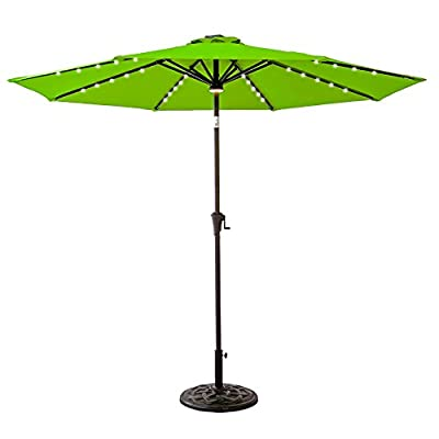 FLAME&SHADE 9' LED Lights Outdoor Market Umbrella for Balcony Patio Outside Deck or Garden Terrace Table with Tilt, Apple Green - LED LIGHTING FROM THE SUN ≈ Dual switched hub light and 40 individual rib lights. Powered by a solar rechargeable battery. DURABLE FABRIC ≈ For optimal sun protection, shading and shelter. To purchase a PROTECTIVE UMBRELLA STORAGE COVER search B06XTZ76YG. EFFORTLESS USE ≈ Smooth crank winder for opening and closing. NOTE: The umbrella must be closed and secured in wind conditions greater than 5-6mph. - shades-parasols, patio-furniture, patio - 412B6zCkZxL. SS400  -