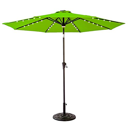 FLAME&SHADE 9 foot LED Lights Outdoor Market Patio Umbrella with Crank Lift, Push Button Tilt, Apple Green