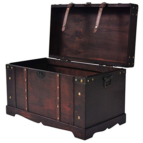 "Fesnight Vintage Treasure Chest Wood Storage Box Trunk Cabinet with Latch Closure and Handles for Bedroom Closet Home Organizer Collection Furniture Decor 26"" x 15"" x 15.7"" (L x W x H)"