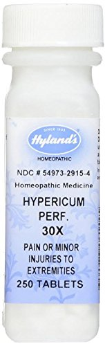 Pain Relief for Back, Lower Back, Neck, Nerves, Foot, and Minor Injuries, Hyland's Hypericum Perf 30X, Tablets, 250 Count
