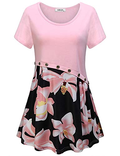 AxByCzD Women Loose Fitting Tops,Womans Business Casual Tunics Trendy Crew Neck Short Sleeve Color Block Beautiful Blouses Button Decor Dressy Flower Printed Hem Designer Clothing Plus Size Pink XL