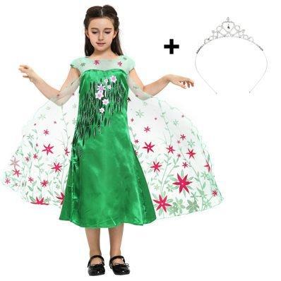 Katara 1842 Disfraz Elsa Frozen Fever Vestido Floral y Tiara 8-9 Años Verde
