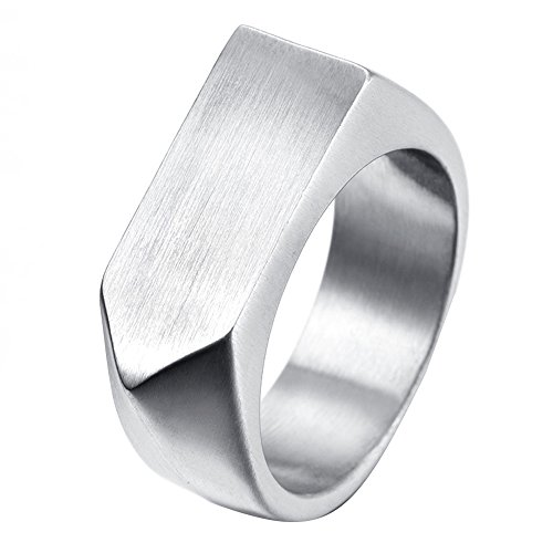 LANHI Men's Stainless Steel Simple Square Band Ring Signet Style, Silver Size 12 (Stainless Steel Square Ring)