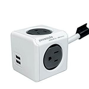 powercube dual usb port with 4 outlets 10ft extension cord surge protector wall. Black Bedroom Furniture Sets. Home Design Ideas