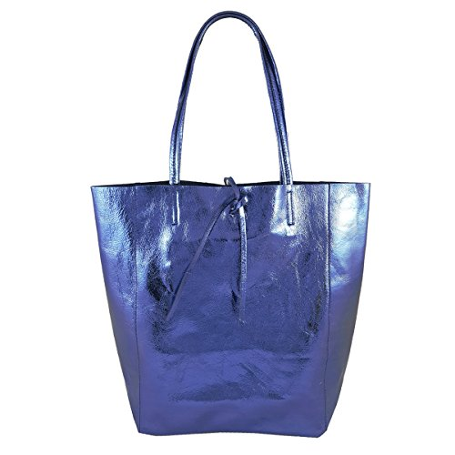 In Italy Bag Blue Made Freyfashion Women's Metallic Tote 5qw6Czxa