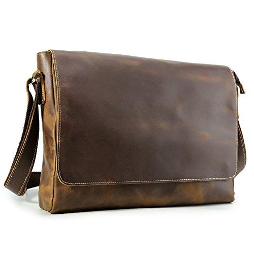 BAIGIO Men Antique Leather 15.6'' Laptop Messenger Bag Shoulder Satchel Handbag (Brown) by BAIGIO