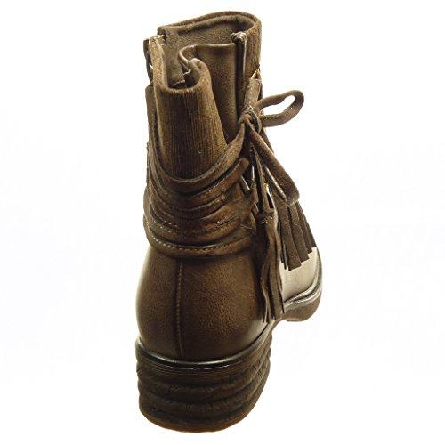 Angkorly - Scarpe da Moda Stivaletti - Scarponcini biker cavalier bi-materiale chelsea boots donna nodo pon pon lines Tacco a blocco 4 CM - soletta Foderato di Pelliccia - Khaki