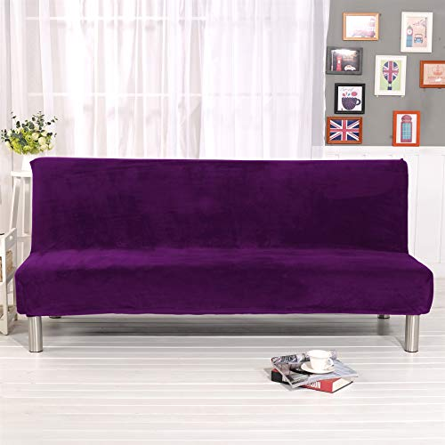 Liveinu Plush Sofa Cover,Thicker Folding Armless Sofa Bed Futon,Slipcover Soft with Elastic Purple 80x41 in