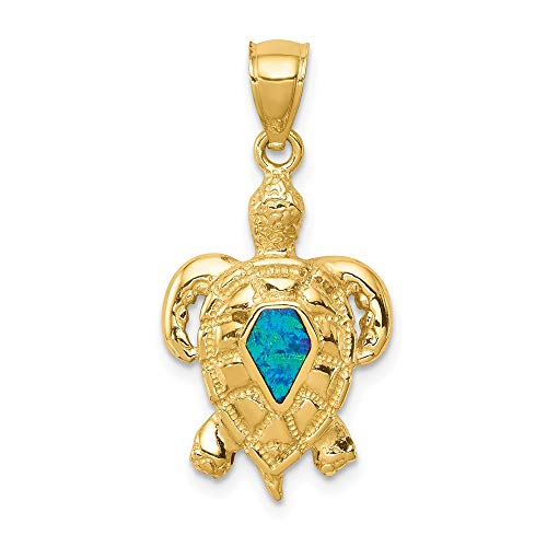 (14k Yellow Gold Created Opal Turtle Pendant Charm Necklace Sea Life Fine Jewelry Gifts For Women For Her)