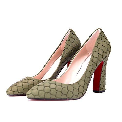 ALUK- Damenschuhe - Europa und Amerika spitzten rau mit einzelnen Schuhen wilde flache Komfort Bankettschuhe ( Farbe : Orange , größe : 36-Shoes long230mm ) Grün