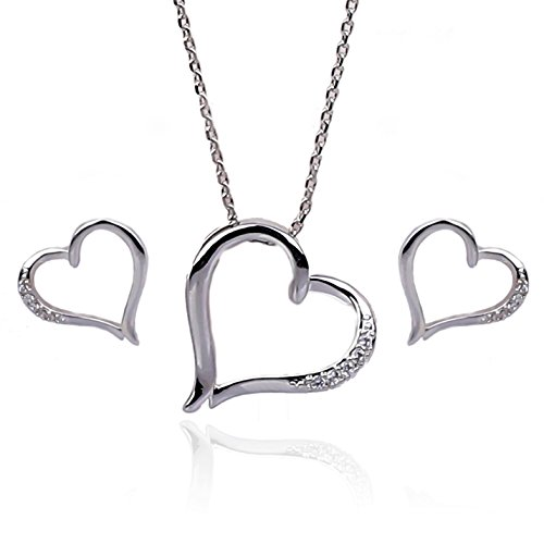NickAngelo's Love Heart Pendant Necklace With Earrings Set For Women Cubic Zirconia Elegant Fashion Jewelry By (rhodium-plated-copper, cubic-zirconia)