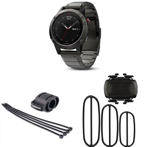Garmin fenix 5x Multisport Training Watch with Forerunner Bicycle Mount Kit  and Bike Cadence Sensor