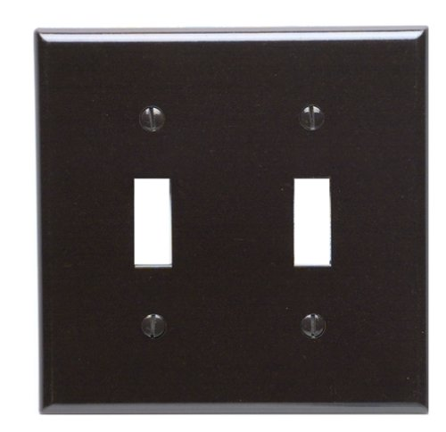 Leviton 85009 2-Gang Toggle Device Switch Wallplate, Standard Size, Thermoset, Device Mount, Brown (Type Toggle Plate Wall)