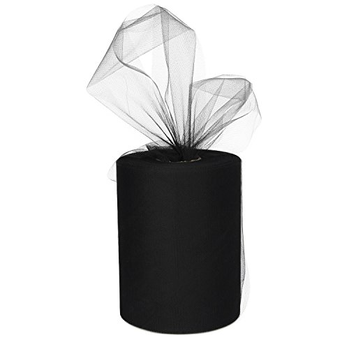 XiangGuanQianYing Black Tulle Roll Spool 6 Inch x 100 Yards for Tulle Decoration