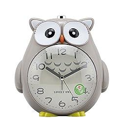 Cute owl alarm clock Colorful cartoon alarm clock Student alarm clock Animal alarm clock (Color : Gray)