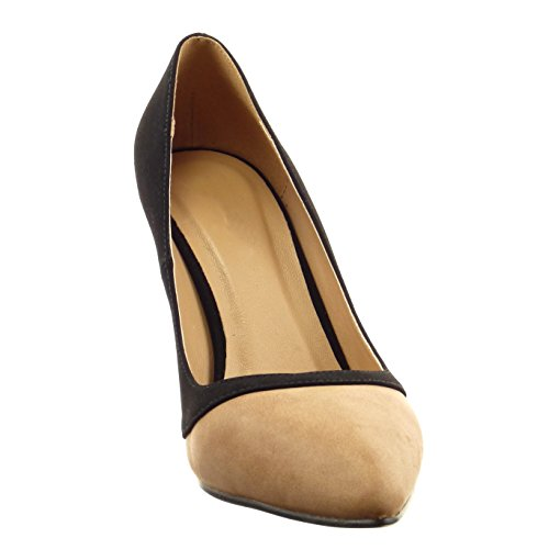 Sopily - Zapatillas de Moda Tacón escarpín decollete stiletto Tobillo mujer Talón Tacón de aguja alto 9 CM - Negro