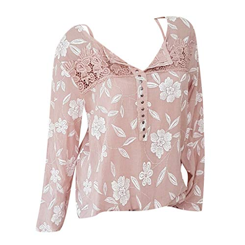 Women Plus Size Lace Shirt Long Sleeve V Neck Chiffon T Shirt Floral Print Office Shirt Elegant Tops by Lowprofile Pink