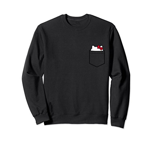 Unisex Hello Kitty Peeking Pocket Long Sleeve Large Black (Hello For Clothes Adults Kitty)