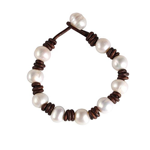 Bonnie Wrap Bracelet Pearl Leather Cord Handmade Pearls Jewelry for Women (Brown) Brown Leather Cord Bracelet