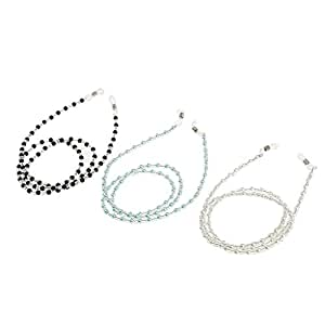 MagiDeal 3 Pieces Anti Slip Beaded Eyeglass Eye Reading Spectacles Sunglasses Holder Necklace Chain Neck Strap Cord Lanyards with Glass Beads