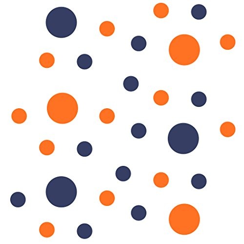 Orange Circles - Set of 30 - Orange/Navy Blue Circles Polka Dots Vinyl Wall Graphic Decals Stickers